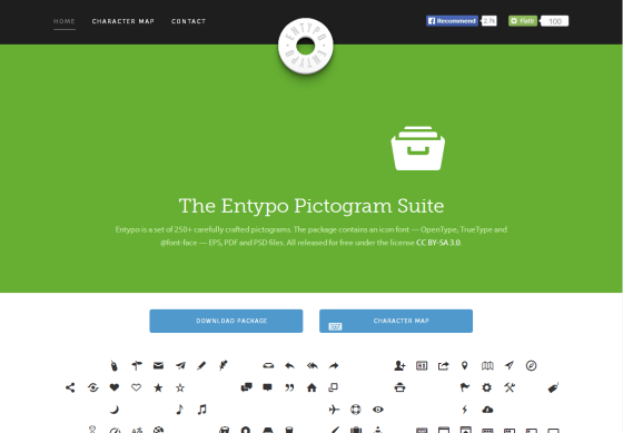 Entypo - 250+ carefully crafted pictograms