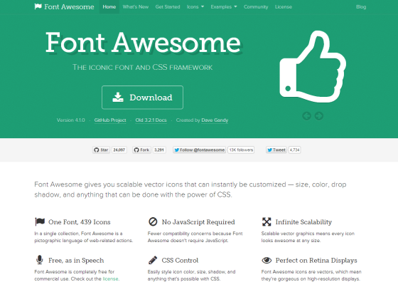 Font Awesome, the iconic font and CSS framework