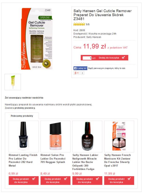 Bardzo dobry przykład mamy tutaj w sklepie z kosmetykami. Na karcie produktu który przeznaczony jest do twarzy, klientowi prezentowane są inne towary z tej samej kategorii towarowej.