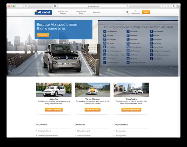 Aktualny alphabet.com należący do BMW