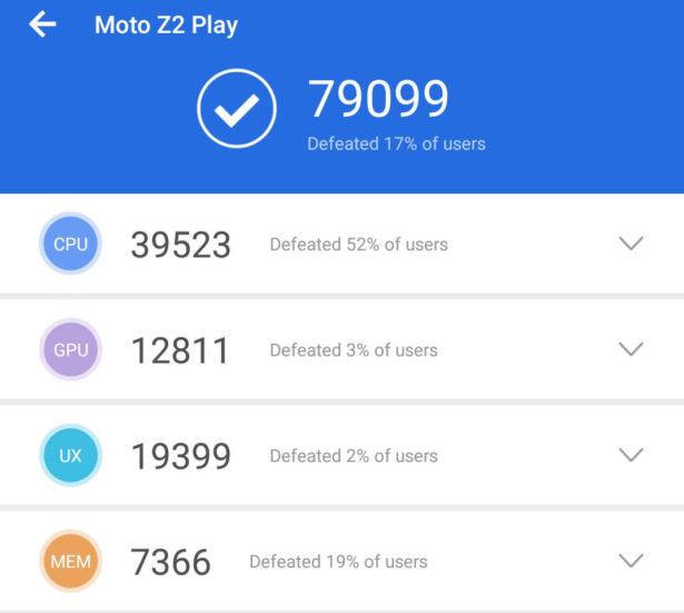 Sw Moto Z2 Play benchmark