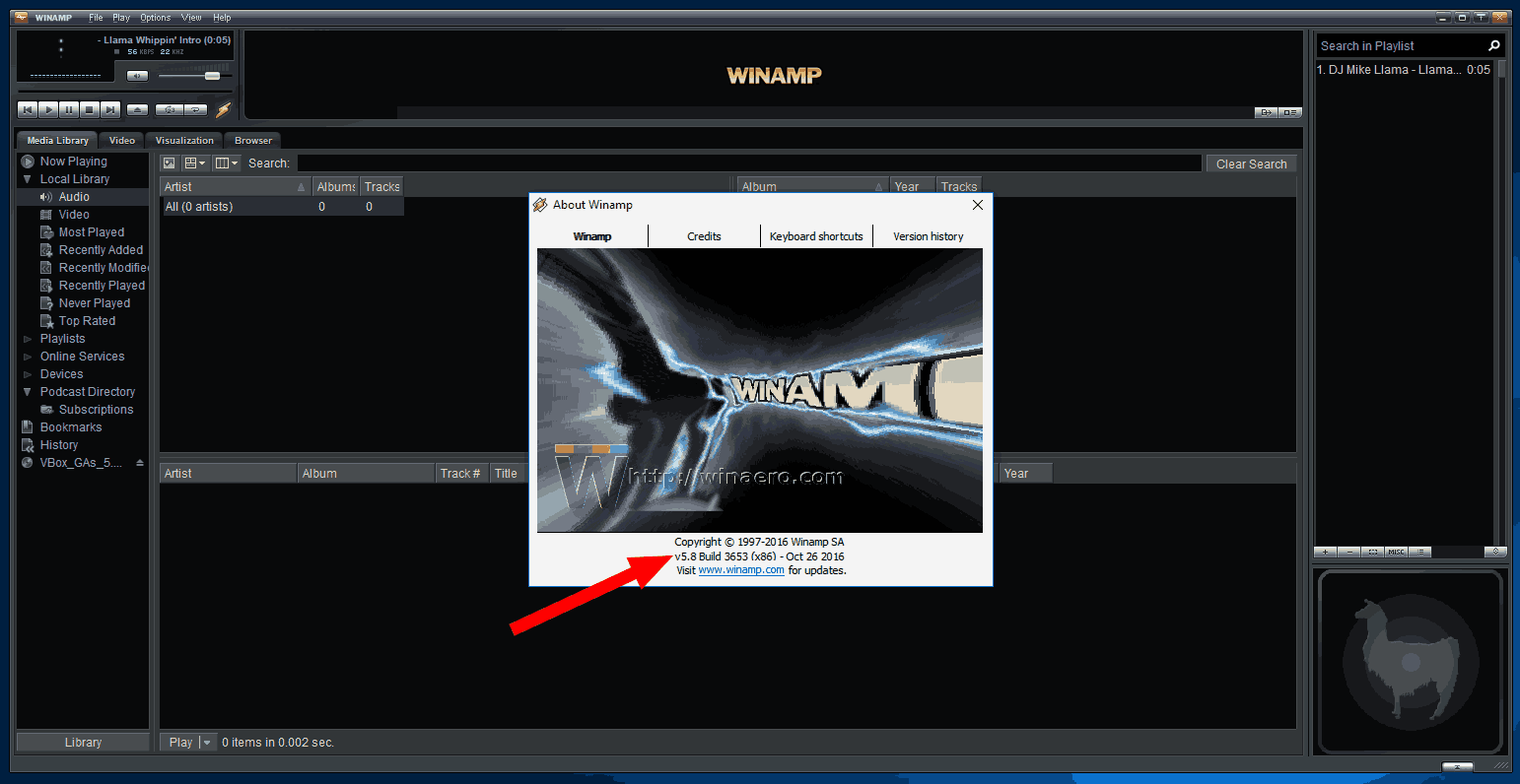 Winamp 5.8 beta on Windows 10