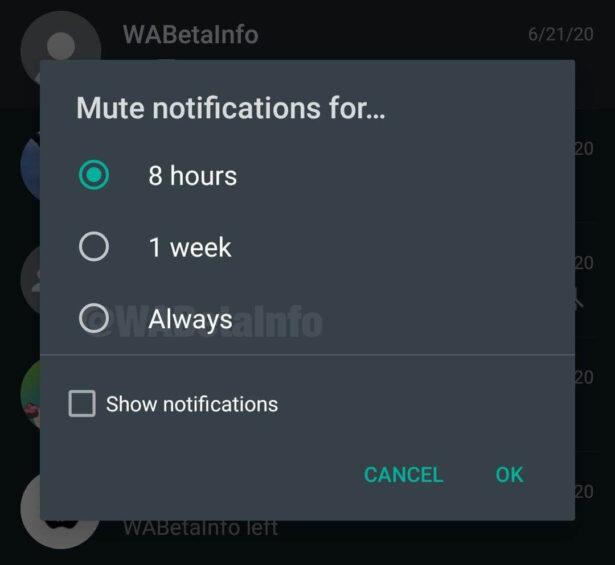 Wyciszanie czatów i grup na WhatsApp