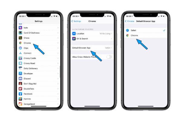 Ustawienie Google Chrome jako domyślną przeglądarkę w iOS 14