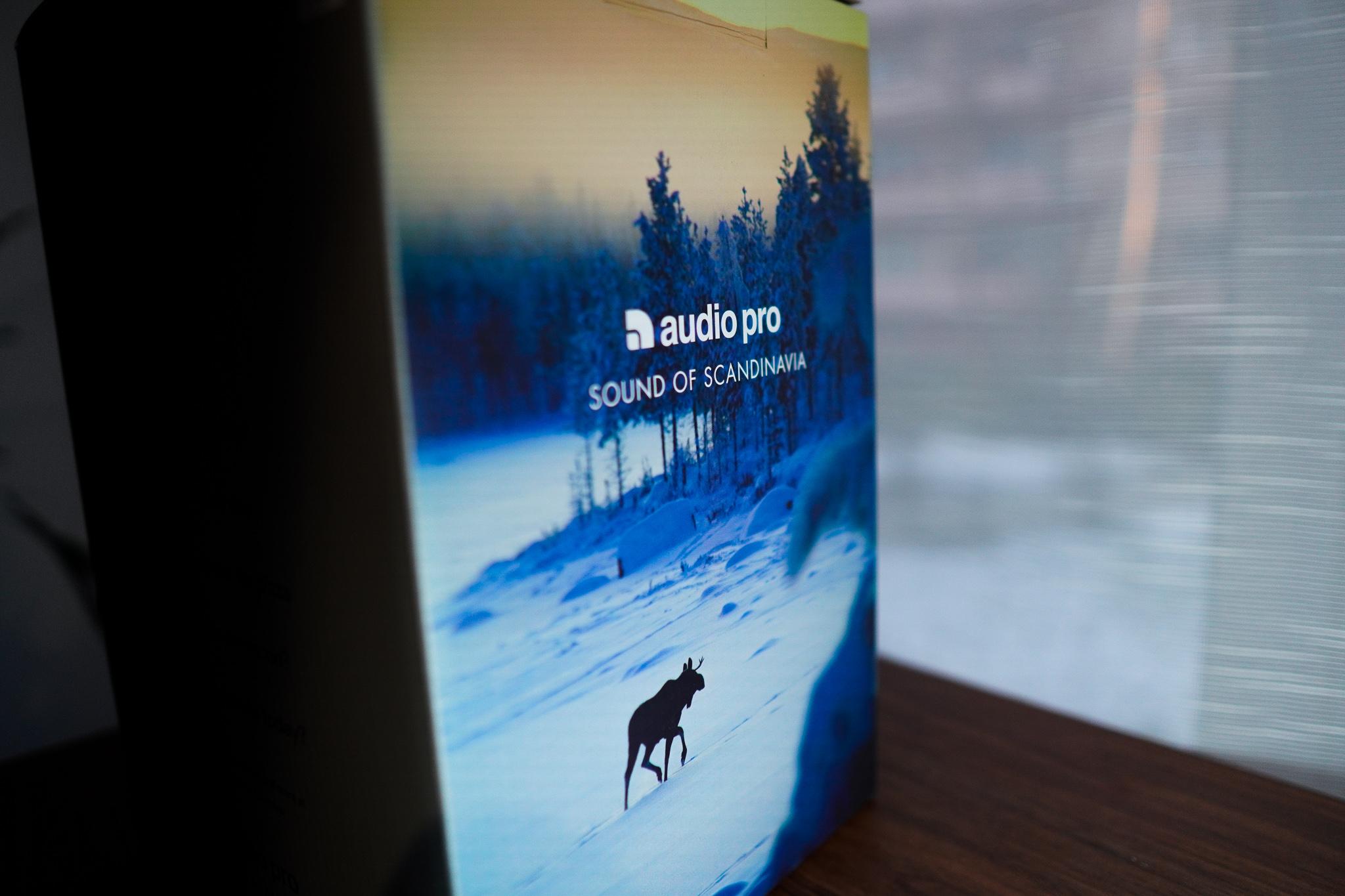 Zdjęcie opakowania głośnika z łosiem idącym przez śnieżny krajobraz Szwecji