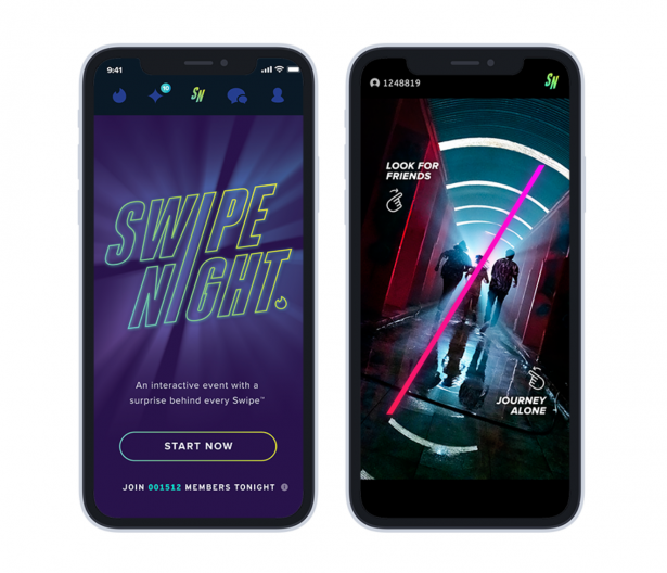 Gra Swipe Night w aplikacji Tinder - screen