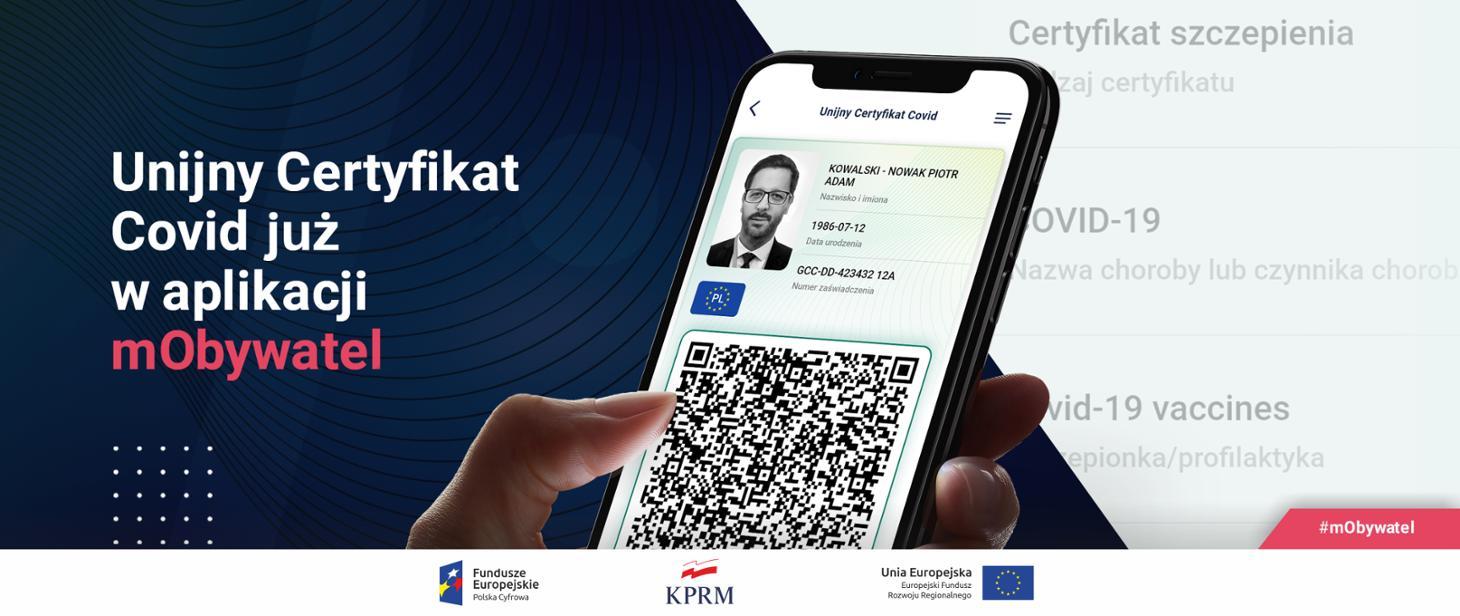 Aplikacja mObywatel w telefonie i Unijny Certyfikat Covid