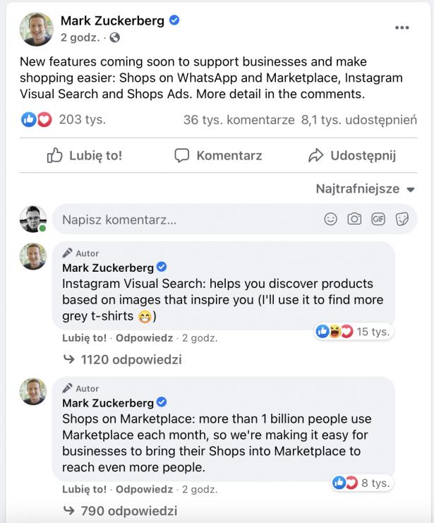 Nowości na Facebook i WhatsApp zapowiedziane przez Marka Zuckerberga w kontekście reklam