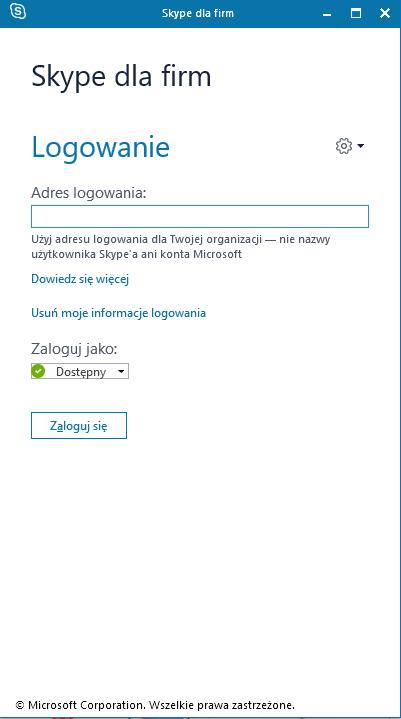 Skype dla firm - okno logowania