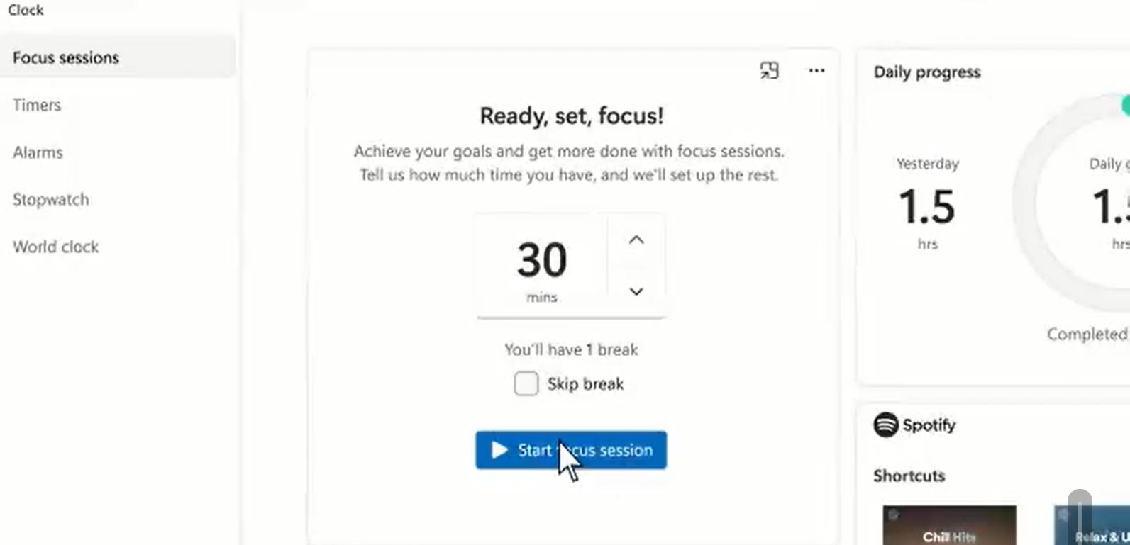 windows 11 focus sessions